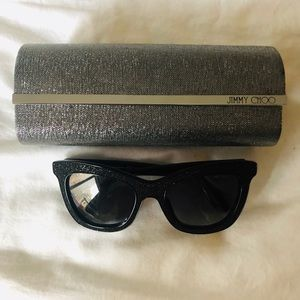 Jimmy Choo black sunglasses with case and cloth
